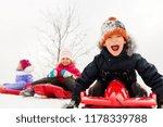 childhood  sledging and season... | Shutterstock . vector #1178339788