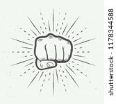 fist with sunbursts  monochrome ... | Shutterstock .eps vector #1178344588