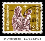 "Small photo of MOSCOW, RUSSIA - AUGUST 18, 2018: A stamp printed in Austria shows ""Madonna with Child"", Christmas serie, circa 1972"