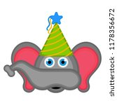 cute elephant with a party hat... | Shutterstock .eps vector #1178356672