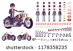 cool rocker boy in biker... | Shutterstock .eps vector #1178358235