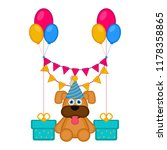 cute dog with a party hat and... | Shutterstock .eps vector #1178358865