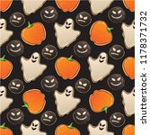 halloween seamless pattern with ... | Shutterstock .eps vector #1178371732