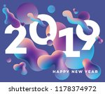 modern abstract happy new 2019... | Shutterstock .eps vector #1178374972
