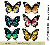 Stock vector set of realistic vector butterflies 117838138