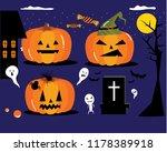 pumpkins faces for halloween | Shutterstock .eps vector #1178389918