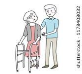 smiling male caregiver taking... | Shutterstock .eps vector #1178408032
