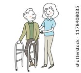 smiling female caregiver taking ... | Shutterstock .eps vector #1178408035