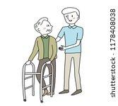 smiling male caregiver taking... | Shutterstock .eps vector #1178408038