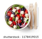 greek salad in paper bowl with... | Shutterstock . vector #1178419015