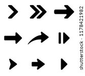 black arrows set. flat arrow... | Shutterstock . vector #1178421982