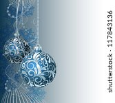 Blue Christmas Card With...