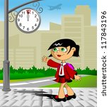 schoolgirl returns home from... | Shutterstock .eps vector #117843196
