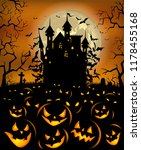 halloween background with scary ... | Shutterstock .eps vector #1178455168