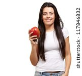 a young woman holding a mango... | Shutterstock . vector #117846832