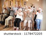 carer leading group of seniors... | Shutterstock . vector #1178472205