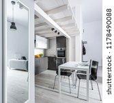 home interior with big mirror...   Shutterstock . vector #1178490088
