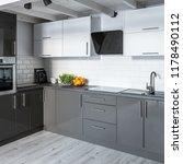 modern kitchen with white brick ... | Shutterstock . vector #1178490112