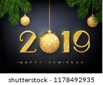 2019 happy new year. vector...   Shutterstock .eps vector #1178492935