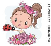 cute cartoon girl with flowers... | Shutterstock .eps vector #1178502415