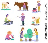 a set of farmers planting a crop   Shutterstock .eps vector #1178513698