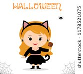 cute child dressed in black cat ... | Shutterstock .eps vector #1178521075