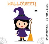 cute child dressed in a witch... | Shutterstock .eps vector #1178521108
