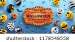Stock vector happy halloween banner with halloween text on vintage wooden board and halloween ghost balloons on 1178548558