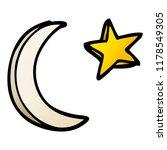 cartoon doodle moon and star... | Shutterstock . vector #1178549305