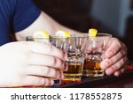 alcohol drink on bar. tequila   Shutterstock . vector #1178552875