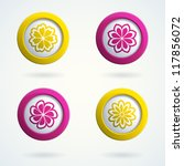 set of 3d buttons with flowers. ... | Shutterstock .eps vector #117856072