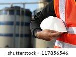 engineer standing on location... | Shutterstock . vector #117856546