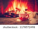 mug of hot chocolate or coffee... | Shutterstock . vector #1178572498