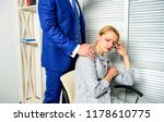 boss touch shoulder of female... | Shutterstock . vector #1178610775