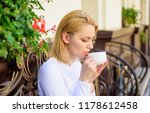 woman have drink cafe terrace... | Shutterstock . vector #1178612458