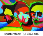 abstract heads  painting