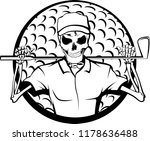 halloween skeleton golfer with... | Shutterstock .eps vector #1178636488