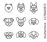 dogs breeds linear icon set.... | Shutterstock .eps vector #1178660872