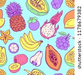 exotic fruit vector seamless... | Shutterstock .eps vector #1178679382