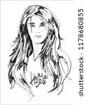 beauty girl face on a white... | Shutterstock .eps vector #1178680855