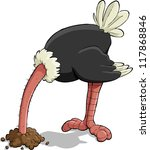 Ostrich Hiding Its Head In The...