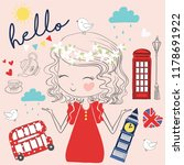 cute girl london vector. pretty ... | Shutterstock .eps vector #1178691922