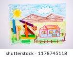 like child s hand drawn house.... | Shutterstock . vector #1178745118