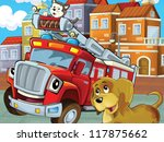 the red firetruck with his... | Shutterstock . vector #117875662