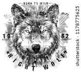 wolf t shirt graphic design | Shutterstock . vector #1178775625