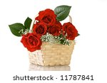Red Roses in Basket - stock photo