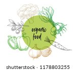 organic food vegetables badge... | Shutterstock .eps vector #1178803255