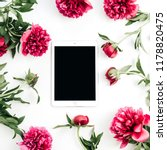 tablet and peony flowers on... | Shutterstock . vector #1178820475