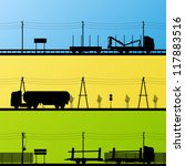 Forestry and oil industry trucks machinery detailed editable silhouettes illustration collection background vector - stock vector