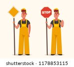 builders holding big signs.... | Shutterstock .eps vector #1178853115